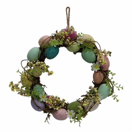 Holiday Home Egg Wreath with Flowers Perspective: front