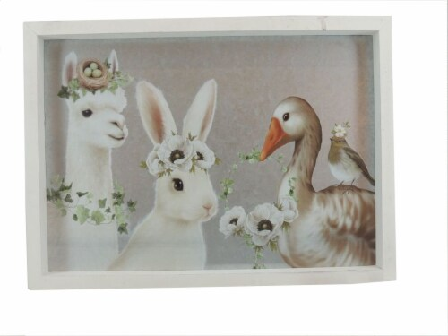 Holiday Home® Flower Crown Animals Sign Perspective: front