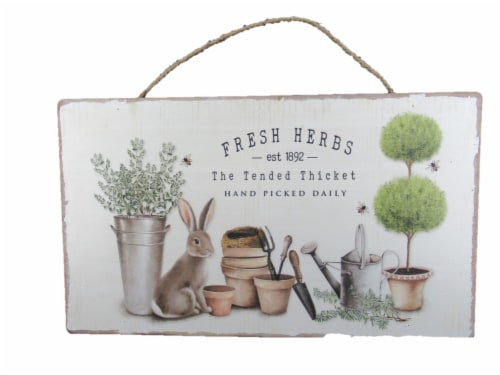 Holiday Home Fresh Herbs Bunny Sign Decor Perspective: front