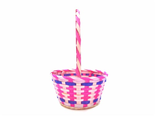 Holiday Home Bamboo Basket - Pink Perspective: front