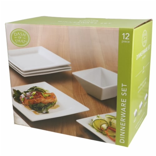 Dash of That™ Square Dinnerware Set - White Perspective: front
