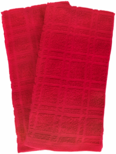 Everyday Living Solid Waffle Kitchen Towels - Red Perspective: front