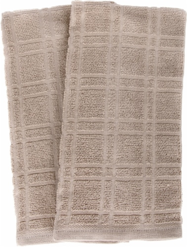 Everyday Living Solid Waffle Kitchen Towels - Light Gray Perspective: front