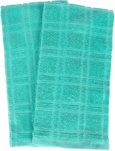 Everyday Living Solid Waffle Kitchen Towels - Teal Perspective: front