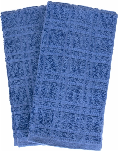 Everyday Living Solid Waffle Kitchen Towels - Blue Perspective: front