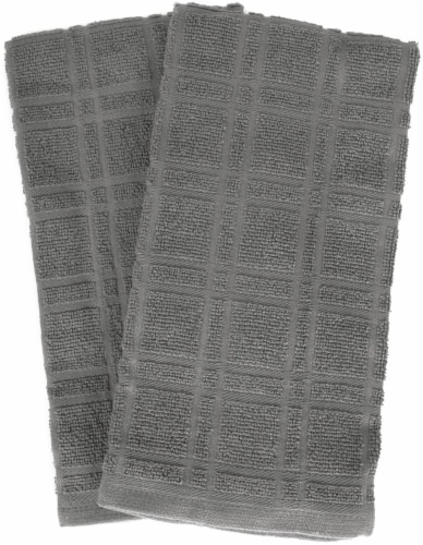Everyday Living® Solid Waffle Kitchen Towels - Charcoal Perspective: front