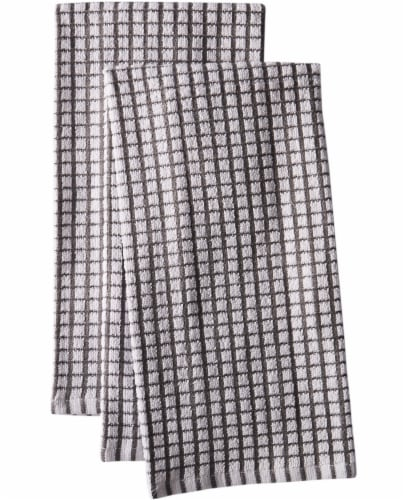 Everyday Living Coordinate Woven Kitchen Towel Set - Charcoal/White Perspective: front