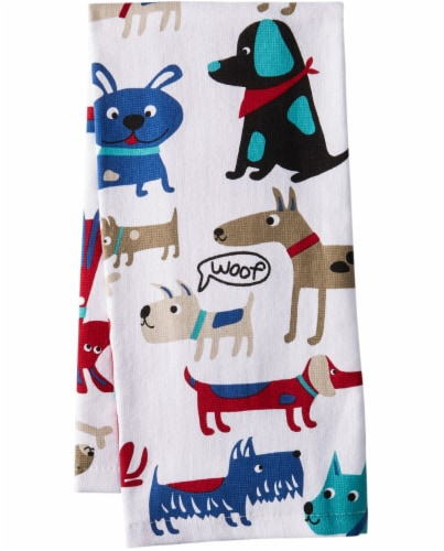 Everyday Living Dog Days Print Kitchen Towel Perspective: front