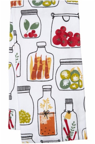 Everyday Living® Veggie Jars Print Kitchen Towel - White Perspective: front