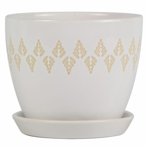 Joy of Gardening Mateo Planter - Reactive White Perspective: front