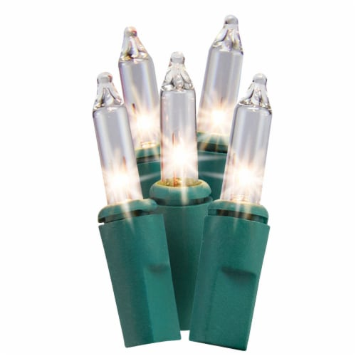 Holiday Home Clear Mini Incandescent Lights - Green Wire Perspective: front