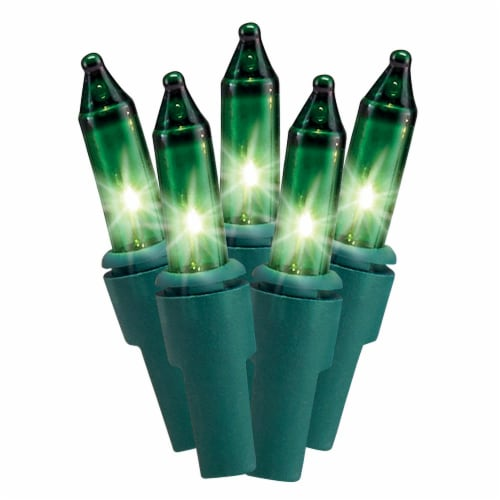 Holiday Home Green Incandescent Lights - Green Wire Perspective: front