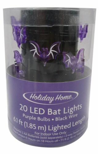 Holiday Home® 20 LED Bat Lights - Purple Perspective: front