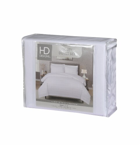 HD Designs® Hotel Dobby Strip Duvet Cover Bed Set Perspective: front