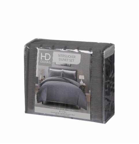 HD Designs® Seersucker Duvet Cover Set - 3 Piece - Gray Perspective: front