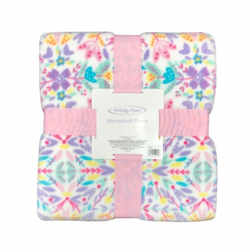 Holiday Home™ Microplush Easter Throw - Floral Burst Perspective: front