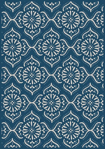 HD Designs Outdoors Iris Quartyard Rug - Blue/White Perspective: front