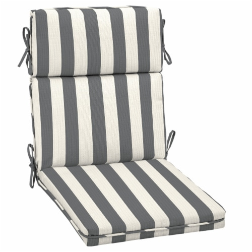HD Designs Outdoors® High Back Chair Cushion - Gray/White Stripe Perspective: front