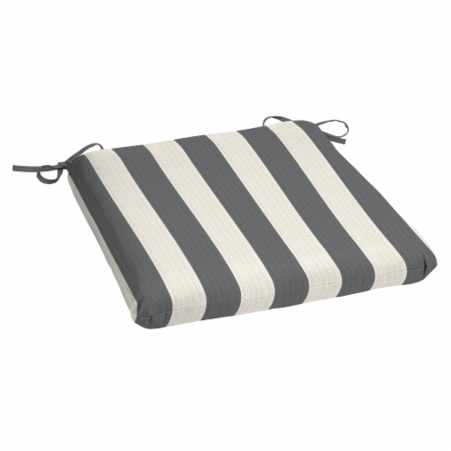 HD Designs Outdoors® Stripe Seat Pad Cushion - Gray Perspective: front