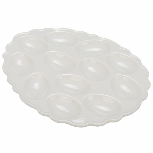 Holiday Home Oval Egg Plate - White Perspective: front
