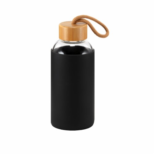 HD Designs Outdoors Glass Bottle with Bamboo Lid - Jet Black Perspective: front