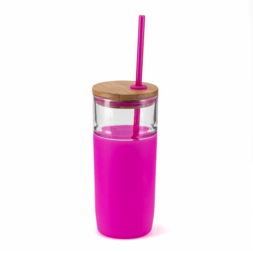 HD Designs Outdoors Glass Bottle with Bamboo Lid and Tritan Straw - Festival Fuchsia Perspective: front