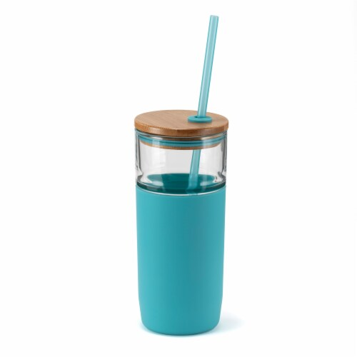 HD Designs Outdoors Glass Bottle with Bamboo Lid and Tritan Straw - Aquarelle Perspective: front
