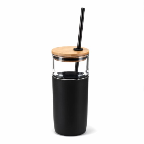 HD Designs Outdoors Glass Bottle with Bamboo Lid and Tritan Straw - Jet Black Perspective: front