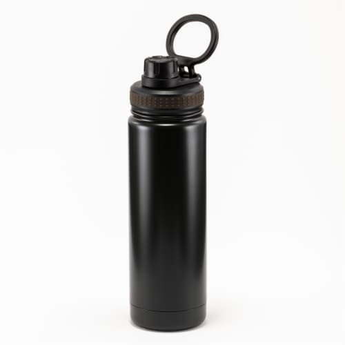 HD Designs Outdoors Stainless Steel Bottle with Sport Lid - Jet Black Perspective: front