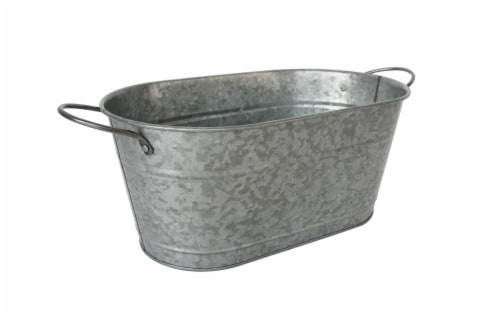 HD Designs Outdoors® Galvanized Oval Bucket - Silver Perspective: front