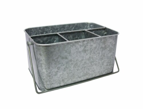HD Designs Outdoors® Galvanized Flatware Caddy - Gray Perspective: front
