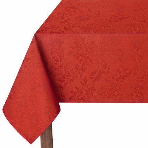 Fall Rectangle Tablecloth 60 x 120 Autumn Leaves Brick Red Damask Pattern