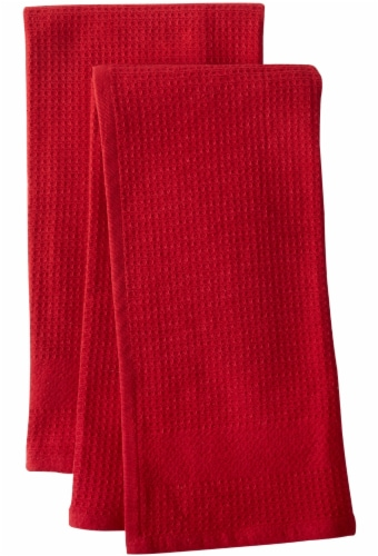 Dash of That Woven Waffle Kitchen Towel Set - Red Perspective: front