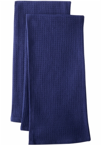 Dash of That Woven Waffle Kitchen Towel Set - Blue Perspective: front