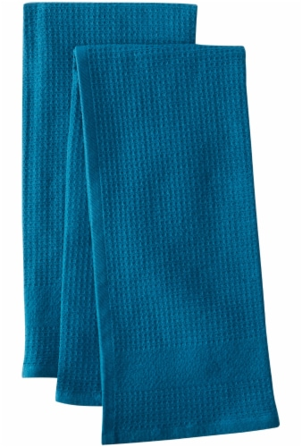 Dash of That Woven Waffle Kitchen Towel Set - Teal Perspective: front