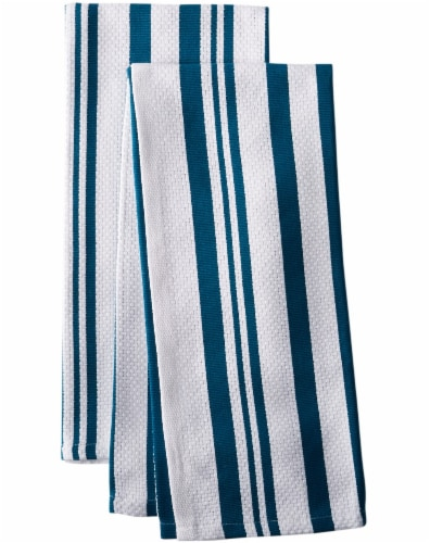 Dash of That Basketweave Towel Set - Teal/White Perspective: front