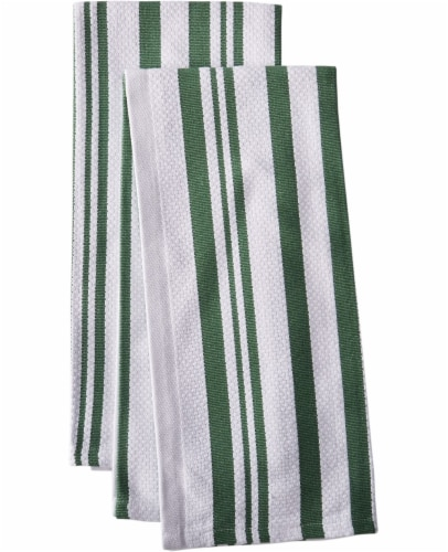 Dash of That Basketweave Towel Set - Green/White Perspective: front