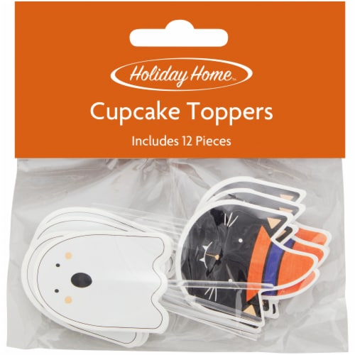 Holiday Home Halloween Ghost and Cat Cupcake Topper Picks Perspective: front