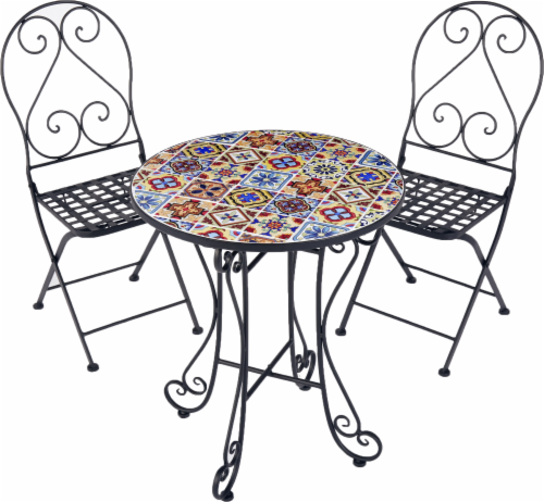 Hd Designs Outdoors Mosaic Bistro Set 3 Piece Multi Color