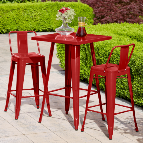 Hd Designs Outdoors Orchards Retro Bistro Set 3 Piece Red