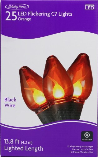 Holiday Home® LED Flickering C7 Lights - Orange Perspective: front