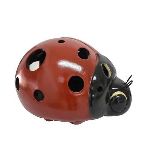 Earth Accents Lady Bug Luminary Lantern - Red/Black Perspective: front