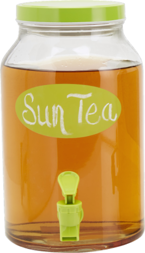 HD Designs Outdoors Chalkboard Print Sun Tea Jar - Clear/Lime Perspective: front