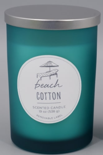 HD Designs® Beach Cotton Jar Candle - Blue Perspective: front