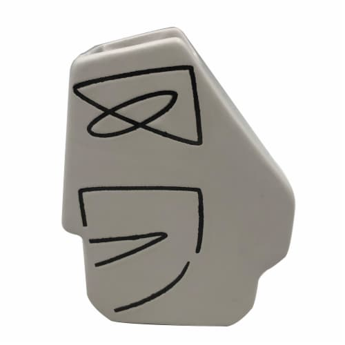 Dip™ Ceramic Abstract Planter - White Perspective: front