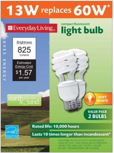 Everyday Living® 13-Watt (60-Watt) Spiral Compact Fluorescent Light Bulbs Perspective: front