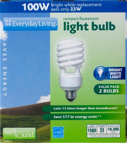 Everyday Living® 23-Watt (100-Watt) Spiral Compact Fluorescent Light Bulbs Perspective: front