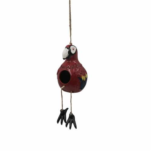 HD Designs Outdoors® Ceramic Parrot Birdhouse - Red Perspective: front