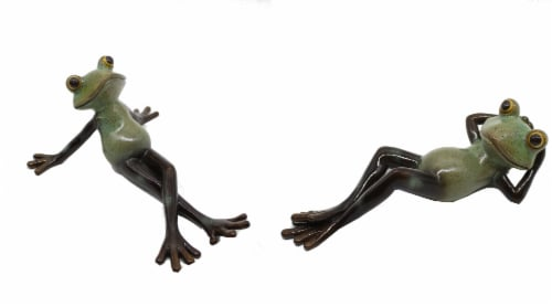 HD Designs Outdoors® Resin Laying Frogs Decor Perspective: front