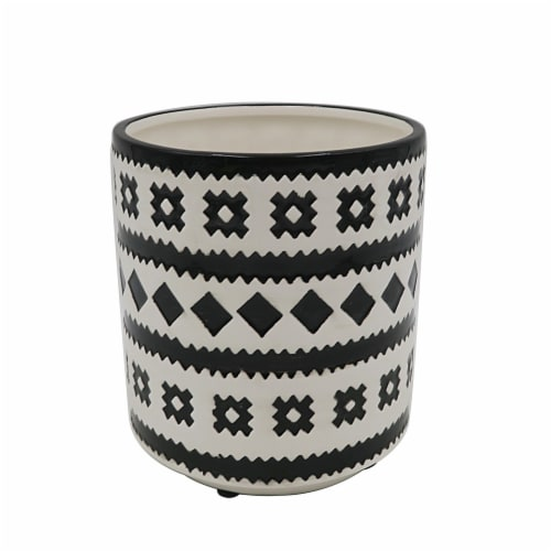 HD Designs Outdoors® Ceramic Planter - Black/White Perspective: front